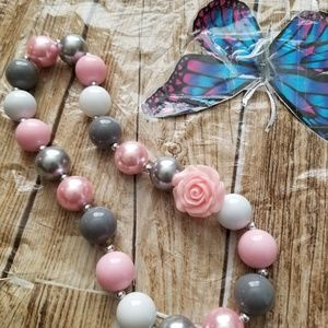 New Bubble Gum Bead Necklace gray pink.